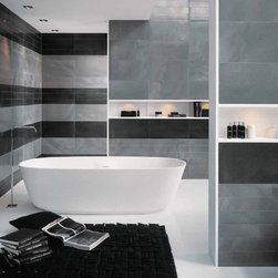 Steel Works Metal Tile - Breath taking metallic porcelain tile available in two sizes 12x24 and 24x24. Colors: Silver (Argento), Bronze, Charcoal (Acciao).