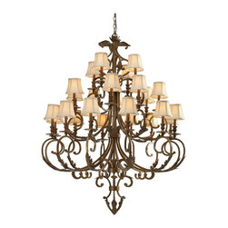 Crystorama - Twenty Four Light ChandelierRoyal Collection - Royal Collection showcases hand painted Wrought Iron in Florentine Bronze. Royal Collection comes with Ivory Shade included and has optional crystal options.