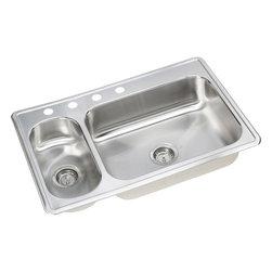 "Dayton - Dayton DEMR23322-4 33""x22""x4"" Large Bowl/Small Sink - Sink is formed of #22 gauge, 300 series, nickel-bearing stainless steel. Top mount."