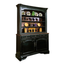 """Hooker Furniture - Hooker Furniture Indigo Creek Buffet - Add a hint of southern charm to your kitchen or dining room with the Indigo Creek 60"""" Buffet in Black. Features: Material: Hardwood Solids with Cherry Veneers. Style: Traditional. Two Doors. Three Drawers. Finish: Black Finish with Rub-Through."""