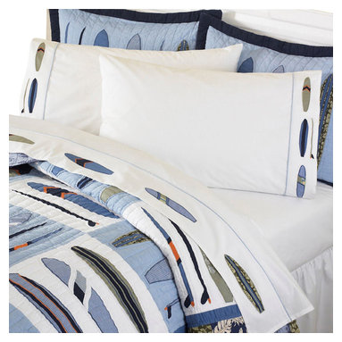 Pem America - Catch a Wave Embroidered Full Sheet Set - Classic blues and greens of the sea dominate this surfing inspired quilt with a Hawaiian shirt influence.  100% cotton face cloth with cotton fill make this quilted bedding ensemble the perfect catch.  On the quilt face, the surfboards are pieced and applique and bring a pop to the quilt with accents in bright orange and red. Includes: 1 flat sheet, 1 fitted sheet, and one pillowcase to fit a full size bed (54x75 inches). 100% Cotton, 200 thread count sheeting material.  Attached hem with embroidery. Machine Washable.