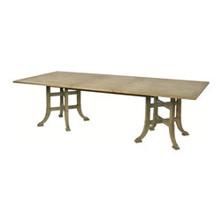 Kathy Kuo Home - Garrett English Farmhouse Double Pedestal Leaf Rectangle Dining Table - Feast your eyes on this beauty. Intricate double pedestal bases and top are made of sustainably harvested oak in a weathered antique finish that's sure to make this table a sought-after family heirloom. Pop in the leaf when your brood gets ready for the family feast.
