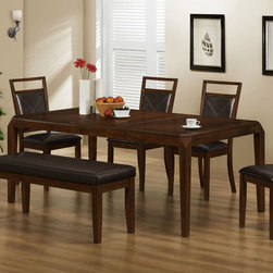 Monarch - Brown Oak Veneer 42in.x78in. Dining Table With An 18in. Leaf - This dining table offers rich design and transitional styling that invites a relaxed setting into your home. Finished in a triangle-designed brown oak veneer top, this clean lined rectangular shaped dining table will create the perfect look for intimate dinners or casual get togethers. This piece features thick tapered legs and an 18 in. extendible leaf to entertain up to six guests.