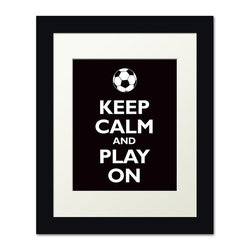 Keep Calm Collection - Keep Calm and Play On, framed print (black) - This item is an Art Print which means it is a higher-quality art reproduction than a typical poster. Art prints are usually printed on thicker paper, resulting in a high quality finish. This print is produced on a 270 gsm fine art paper stock.