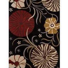 Rugs Mandara Transitional Hand-Tufted Floral Black Wool Rug (9' x 13')