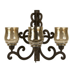 iMax - iMax Forged Iron Triple Wall Sconce X-25002 - Made from forged iron in Spanish mission style, this three candle wall sconce will add quiet ambiance to any room.
