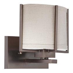 Nuvo Lighting - Nuvo Lighting 60-4451 Portia 1-Light Vanity with Khaki Fabric Shade - Nuvo Lighting 60-4451 Portia 1-Light Vanity with Khaki Fabric Shade (1) 13W GU24 Lamp Included