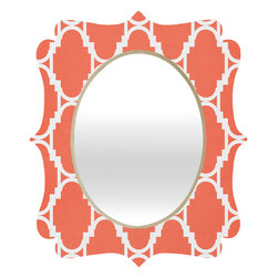 DENY Designs - Rebecca Allen Pillow Talk Coral Quatrefoil Mirror - Mirror, mirror on the wall. Who's the fairest one of all? We'll that's easy, the quatrefoil mirror collection, of course! With a sleek mix of baltic birch ply trim that's unique to each piece and a glossy aluminum frame, the rectangular mirror makes you feel oh so pretty every time you catch a glimpse. Custom made in the USA for every order.