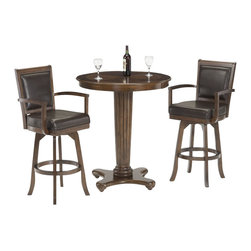 Hillsdale - Hillsdale Ambassador 3-Piece Pub Table with 2 Stools in Rich Cherry - Hillsdale - Pub Sets - 6124PTBS - The Hillsdale Ambassador Pub Table and Bar Stools set have an attractive rich cherry finish. The pub table features a round wood top and a pedestal base. The bar stools feature swiveling capabilities and arms for comfort and relaxation. With unique transitional design elements The Ambassador Pub Table and Bar Stools set is a perfect addition to any bar area or kitchen.
