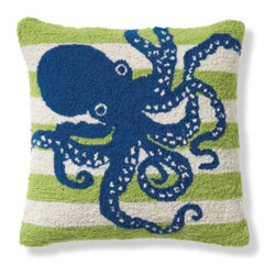 Grandin Road - Octopus Seaside Hook Pillow - Covers are expertly hand-hooked from vividly dyed, natural wool. Cotton velveteen backing. Pillows include plump polyester inserts for comfort. A discreet, hidden zipper allows for easy removal of the cover. Spot or dry-clean. You simply can't help but feel happier surrounded by the playful and vivid designs of our Seaside Hook Pillows. A brilliant way to add a touch of ocean-inspired charm, instantly, to any chair or sofa. With three fresh and fun styles to choose from, it's impossible to stop at just one. Make it feel like you're on a seaside getaway every day.  .  .  .  .  . Imported.