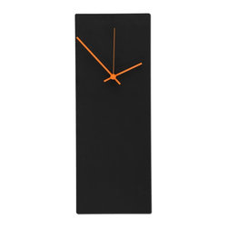 Metal Art Studio - Blackout Orange Clock Metal Art - Contemporary black metal clock w/ orange clock hands. Hands also available in blue, white, red, green and black. The clock has a satin black body and beveled pinstripe metallic edge.