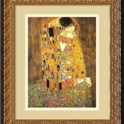 "Amanti Art - The Kiss (Le Baiser / Il Baccio), 1907 Framed Print by Gustav Klimt - If you're a hopeless romantic, you're most likely already familiar with Klimt's ""The Kiss."" A timeless symbol of romance and sensuality, this wildly famous print features an ornate custom frame with a warm vanilla mat. It arrives ready to hang and eager to seduce the atmosphere of your home."