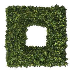 Uttermost - Evergreen Preserved Boxwood Square Wreath Accessory - Evergreen Preserved Boxwood Square Wreath Accessory