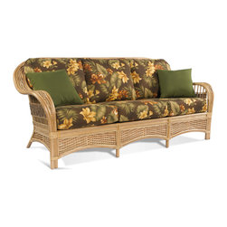 Wicker Paradise - Rattan Sofa: Tropical Breeze Collection - The Tropical Breeze Rattan Sofa blends beautiful, crisp curves of rattan poles and intricate weaving of seagrass and wicker to create your perfect space. It is extremely popular with customers looking for a unique rattan look. Many other pieces in this collection are available to go with with this rattan sofa. Feel free to browse items in this collection.   Callie Coffee indoor/outdoor fabric is shown in the sofa picture.   *Please note: Throws pillows are optional and additional (order accessory below).     Tropical Breeze Rattan Sofa:    Ideal for indoor areas like sunrooms or living rooms. Also great for partially covered areas like screened-in porches or front porches.  Rattan sofa on premium rattan and wood frame with strap decking under cushions  Natural, light color and seagrass and wicker side panels are easy on the eyes.  Comfy, plush cushions come in a variety of fabrics.