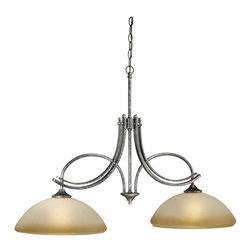 Vaxcel Lighting - Vaxcel Lighting SE-PDD380AE Sebring Transitional Kitchen Island Light - Upscale and clean, the double arms gently cradle wide, rounded glass.