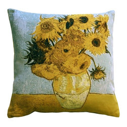 "Pillow Decor Ltd. - Van Gogh Sunflowers Throw Pillow, 19 by 19 - Bring your favorite art off the walls and into the three-dimensional world with this gorgeous pillow with a reproduction of Van Gogh's iconic ""Vase with Twelve Sunflowers"" painting depicted on it. This French tapestry throw pillow mimics the texture of oil paint through cloth, which is a unique re-imagination of the famous painting."
