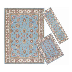 Nourison - Nourison Persian Floral Collection Blue Rug 3pc Set 2'2 x 7'3,3'11 x 5'3,7'10 x - Meandering floral patterns and intricate arabesque motifs exude a sense of luxury and comfort,while the resilient construction affords this carpet durability and stain resistance.