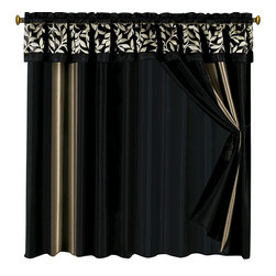"Chandler Curtains 2 x Panels 60x84""ea. with Valance, 60x84+18 (2-Panels) - Curtain set Includes: 2 Panels 60""Wx84""L + 18"" Attached Valance"