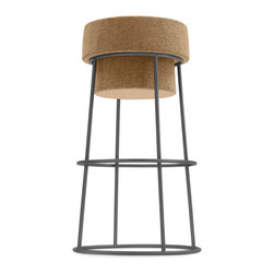 DomItalia Furniture - Bouchon SGB Counter Stool / Satinated Aluminum Base - Charming and versatile, natural cork seat of the Bouchon SGA Satinated Aluminum Base Counter Height Stool sits atop a steel base with industrial look. Base is offered in Bar and Counter heights as well as a selection of finishes. From admirers of modern styles, fans of minimalism to wine enthusiasts, the stool from the Bouchon Collection pleases everyone easily. Stool assimilates readily into a range of interior styles and decors. A lovable piece that blend the dynamic duo of cork and steel in a timeless fashion.