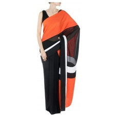 Black and scarlet colour blocked linen sari with draped blouse available only at