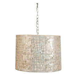 Worlds Away - Worlds Away Large Brick Pattern Capiz Shell Pendant CROC P - Large brick pattern capiz shell pendant. Uses 2 60 watt bulbs and comes with diffuser. Comes with 3' chrome chain and canopy.