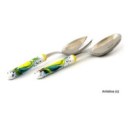Artistica - Hand Made in Italy - LIMONI: Deruta Salad Serving Set with ceramic handle - Salad Server Set.