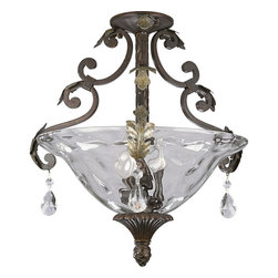Progress Lighting - Progress Lighting P3544-72 3-Light Flush Mount with Optic Hammered Glass Bowl - Progress Lighting P3544-72 3-Light Flush Mount with Optic Hammered Glass Bowl