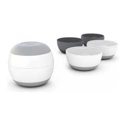 Joseph Joseph - Prep & Store, White/Gray - This futuristic-looking sphere uses a Russian-doll principle to create a set of four food preparation/storage bowls from a single compact design. By simply twisting and separating the top and bottom halves of the sphere, two bowls are created and another smaller sphere is revealed inside. Open this in the same way and the halves create two more slightly smaller containers. Perfect for holding a variety of ingredients for recipes or for mixing small quantities of ingredients together, each bowl has a practical non-slip base. If contents remain after use, simply join the two halves of a bowl together again to make a handy container with a tightly locked lid  ideal for storing in the fridge.  Set of 4 food preparation/storage bowls