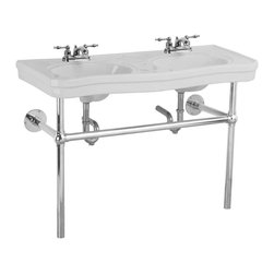 """Renovators Supply - White China Double Bathroom Sink Belle Epoque 4"""" - Double Bathroom Sinks: Belle Epoque Double Deluxe is the perfect sink for any master bath- a double wide console sink for two! Our Belle Epoque Double Deluxe is constructed of grade A vitreous china, has an elegant chrome-plated Bistro frame, self-draining soap dishes and of course """"his"""" & """"her"""" basins. Takes two 4 in. centerset faucets, not included."""