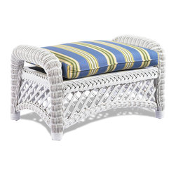 Wicker Paradise - White Wicker Ottoman - Lanai - Treat your feet to this wicker Ottoman! Place a tray on it for serving purposes or pull it up next to a wicker chair for a more versatile chaise lounge feel. You deserve the comfort and style!