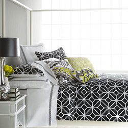 """Trina Turk - Trina Turk Pillow with Butterfly Embroidery, 18""""Sq. - Black and white cotton bed linens with great graphic appeal. From Trina Turk. Embroidered accent pillows add a touch of yellow. Black and white trellis-print jacquard comforter sets include comforter and two shams. Queen set has standard shams; king s..."""