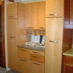 "Schrock - Showroom displays - Cabinetry is Schrock Prestley, ""Wheat"" on maple"