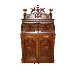 Wooton Desk Company - Consigned Superior Grade Wooton Patent Secretary with Carved Winged Griffin Gall - Height: 76 in. (193.04 cm)