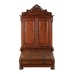 MBW Furniture - Mahogany French Empire Media Armoire - This product is finely constructed from top grade kiln-dried. Solid wood and select hardwood veneers. Its superb quality will add a touch of elegance to your home.