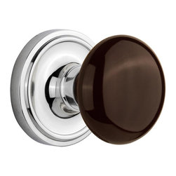 Nostalgic - Nostalgic Passage-Classic Rose-Brown Porcelain Knob-Bright Chrome (NW-710442) - The simple elegance of the Classic Rosette in bright chrome offers beauty and durability that will compliment a variety of architectural styles. Adding our rich, Brown Porcelain knob only serves to compliment the warm, earthen hues in your home. All Nostalgic Warehouse knobs are mounted on a solid (not plated) forged brass base for durability and beauty.