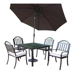 Oakland Living - 7-Pc Square Patio Dining Set - Includes dining table, four arm chairs with cushions, 9 ft. tilting umbrella and stand. Lightweight. Umbrella hole. Metal hardware. Fade, chip and crack resistant. Crisp and stylish traditional straight pattern. Warranty: one year limited. Made from durable tubular iron. Hammer tone bronze hardened powder coat finish. Minimal assembly required. Chair: 21.5 in. W x 23 in. D x 34 in. H (28 lbs.). Table: 40 in. L x 40 in. W x 29.5 in. H (58 lbs.)The Oakland Rochester Collection combines practical designs and modern style giving you a rich addition to any outdoor setting. Each piece is hand cast and finished for the highest quality possible.