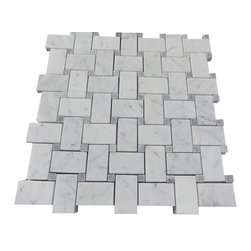 Tiles R Us - Carrara Marble Honed Basketweave Mosaic Tile with Grey Dots, 1 Sq. Ft. - - Carrara Marble Honed (Matte finish) Basketweave Mosaic Tile with Grey Dots.
