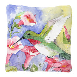 Caroline's Treasures - Bird - Hummingbird Fabric Decorative Pillow - Indoor or Outdoor pillow made of a heavy weight canvas. Has the feel of Sunbrella fabric. 14 inch x 14 inch 100% Polyester Fabric pillow Sham with pillow form. This pillow is made from our new canvas type fabric can be used Indoor or outdoor. Fade resistant, stain resistant and Machine washable.
