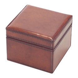 John Richard - John Richard Small Brown Leather Watch Box JRA-9330 - A small handsome watch box in rich brown tanned leather lined in gray brown suede. This box has lovely accent stitching. Note: Natural leather, variations in color will occur.