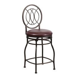 Flash Furniture - Flash Furniture 24 in. Swivel Counter Stool with Oval Back - BS-6309-24-BK-CTR-G - Shop for Stools from Hayneedle.com! The Flash Furniture 24 in. Swivel Counter Stool with Oval Back makes an natural addition to your modern furniture set situated at a perfect height for the average counter. Sturdy solid steel is used to create the four-legged frame boasting a circular chair-back with a charming interlaced wire design. Plush flame-retardant foam is used to pad the cushion upholstered in fine natural leather. A 360-degree swivel offers a full range of motion automatically returning to the original position once the seat is vacated. The frame features a powder-coated protective finish designed to match the color of the leather upholstery. Choose between black or brown (subject to availability).About Flash FurnitureFlash Furniture prides itself on fine furniture delivered fast. The company offers a wide variety of office furniture whether for home or commercial use. Leather reception seating executive desks ergonomic chairs and conference room furniture are all available to ship within twenty-four hours. High quality at high speeds!