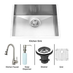 Vigo Industries - Platinum Undermount Kitchen Sink with Matching Grid - Includes stainless steel kitchen sink, stainless steel kitchen faucet, matching grid, strainer and stainless steel soap dispenser and all mounting hardware
