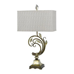 Cal Lighting - Cal Lighting BO-2276TB Monroe 1 Light Table Lamp with 3-Way Switch - Cal Lighting BO-2276TB Monroe 1 Light Table Lamp with 3-Way SwitchFeaturing a unique shape and leaf accents, this enchanting table lamp makes the perfect accent to any room in your home. This lamp is constructed with sturdy metal material and a rectangular shade.Cal Lighting BO-2276TB Features: