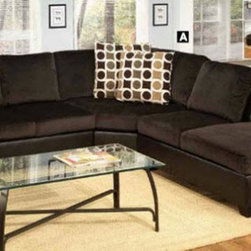 Poundex Furniture – U-Shaped Modular Microfiber Sectional Sofa - F7234/F7231/F72 - Set Includes 2-Seater w/ Arm, Cuddle Wedge And Chaise