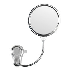 Gedy - 2 Faced Shatterproof Polished Steel Bathroom Mirror - Made in steel and coated in chrome. This suction cup round cosmetic mirror (part of the Gedy Hot collection) will fit perfectly into your contemporary master bath. Made in Italy by Gedy. This is ONLY able to mount to glass surfaces. It will not hold up on tile, drywall, etc. High-end makeup magnifying mirror, made in the highest quality metal. Polished steel mirror. Cosmetic mirror. Made in Italy by Gedy. Part of the Gedy Hot collection.