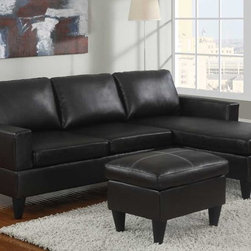 Poundex Furniture - Bobkona All in One Small Sectional Sofa Set - F7296 - Espres - Contemporary/Modern Look