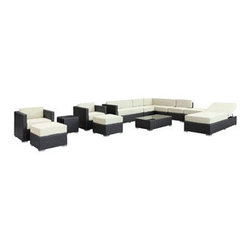 """LexMod - Fusion 12 Piece Outdoor Patio Sectional Set in Espresso White - Fusion 12 Piece Outdoor Patio Sectional Set in Espresso White - Harmonious positioning lends grace to every gathering with this sprawling outdoor sectional set. Commingle as participants contribute individual strengths to combine into a collective powerhouse of perfection. Turn your surroundings into a sought after meeting place in this consummate arrangement of beauty. Set Includes: One - Fusion Outdoor Wicker Patio Chaise Lounge One - Fusion Outdoor Wicker Patio Coffee Table One - Fusion Outdoor Wicker Patio Ottoman One - Fusion Outdoor Wicker Patio Side Table Two - Fusion Outdoor Wicker Patio Armchairs Two - Fusion Outdoor Wicker Patio Armless Sections Two - Fusion Outdoor Wicker Patio Mini Ottomans Two - Fusion Outdoor Wicker Patio Sofa Sections Synthetic Rattan Weave, Powder Coated Aluminum Frame, Water & UV Resistant, Machine Washable Cushion Covers, Easy To Clean Tempered Glass Top, Ships Pre-Assembled Overall Product Dimensions: 157""""L x 109""""W x 26""""H Coffee Table Dimensions: 43""""L x 24""""W x 12""""H Armchair Dimensions: 30""""L x 30""""W x 26""""H Armless Section Dimensions: 30""""L x 26""""W x 26""""H Chaise Lounge Dimensions: 79""""L x 30""""W x 12""""H Mini Ottoman Dimensions: 24""""L x 24""""W x 12""""H Sofa Section Dimensions: 30""""L x 53""""W x 26""""H Side Table Dimensions: 18""""L x 18""""W x 18""""H Ottoman Dimensions: 30""""L x 30""""W x 26""""H Armrest Dimensions: 3""""W Seat Height: 12""""H - Mid Century Modern Furniture."""