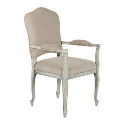 Kathy Kuo Home - French Country Camel Back Stone Gray Dining Arm Chair - Our best transitional design spanning both warm neutrals and cool greys, this chair is a must for any room.