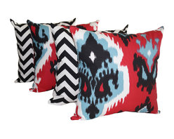 Land of Pillows - Premier Prints Ikat Carmine Red and Zig Zag Black Chevron Throw Pillows - 4 PK, - Fabric Designer - Premier Prints