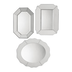Uttermost - Bianco Frameless Mirror, Set of 3 - The combination of smooth scalloped edges and polished linear shapes give this striking trio of frameless mirrors a Hollywood Regency vibe. Arrange them horizontally or vertically to suit your space. After all, darling — why display only one mirror in your entry when three can be so spectacular!