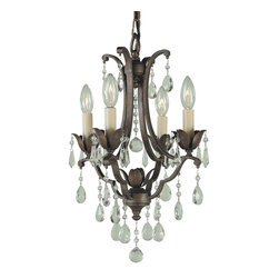 Murray Feiss - Murray Feiss Maison de Ville Traditional Mini Chandelier X-BRB4/1881F - Floral inspired details and traditional elements add depth and interest to this Murray Feiss mini chandelier, or chandelette. From the Maison de Ville Collection, it features four candelabra style lights and crystal accents for added appeal. A warm British Bronze finish pulls the look together.